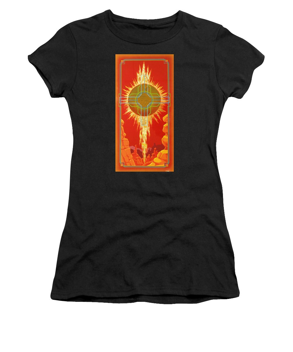 Southwest Paintings Women's T-Shirt (Athletic Fit) featuring the painting Visitation by Alan Johnson