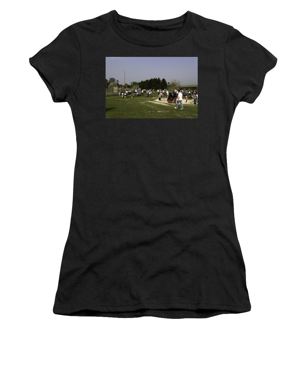 Animal Park Women's T-Shirt (Athletic Fit) featuring the photograph Visitors Having A Good Time At The Blair Drummond Safari Park by Ashish Agarwal