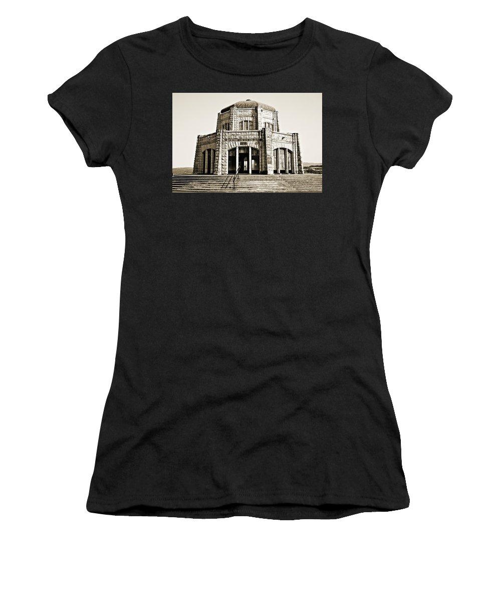 Vista House Women's T-Shirt (Athletic Fit) featuring the photograph Vista House - Sepia by Scott Pellegrin