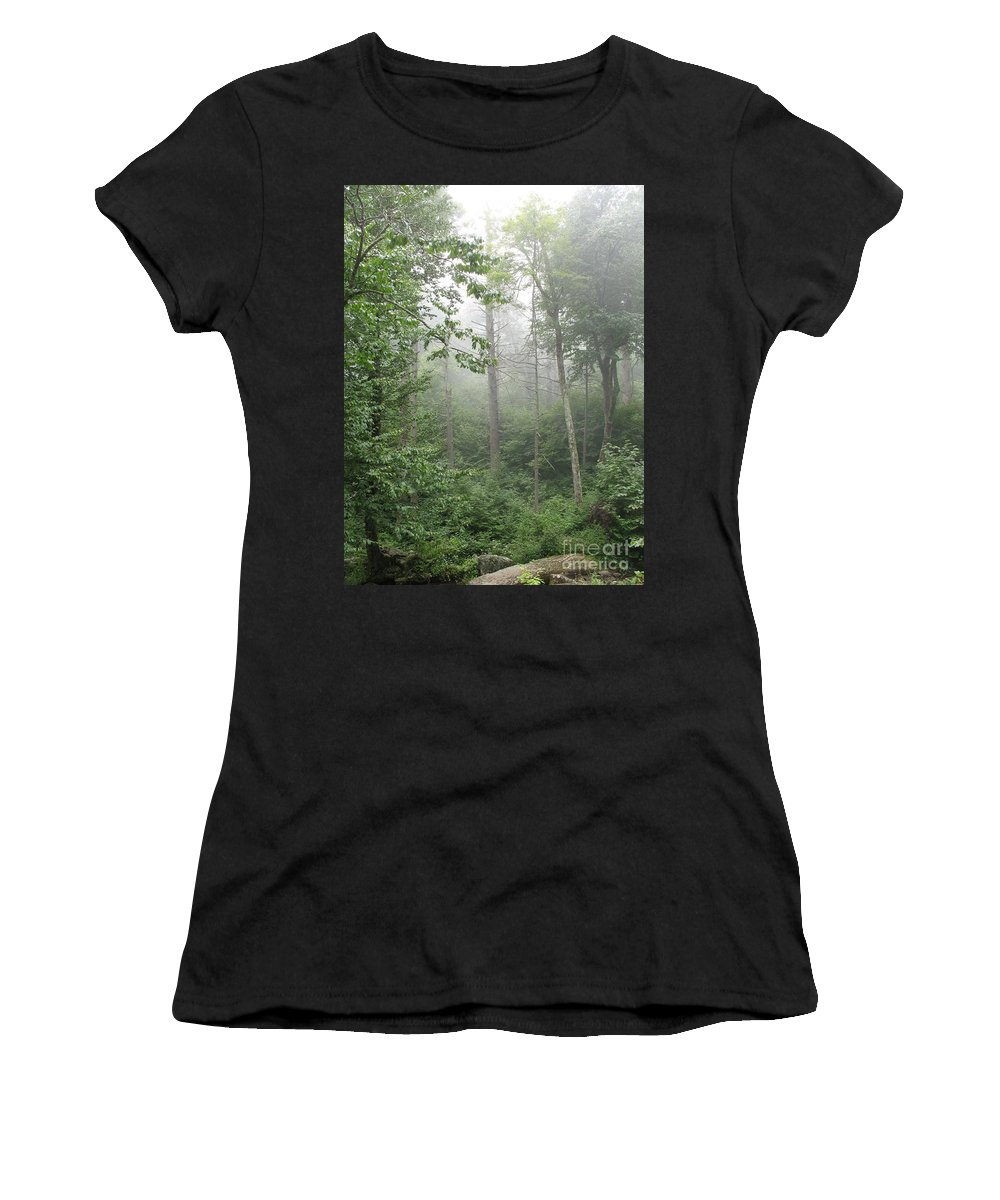 Mist Women's T-Shirt (Athletic Fit) featuring the photograph Waft Of Mist - Shenandoah Park by Christiane Schulze Art And Photography