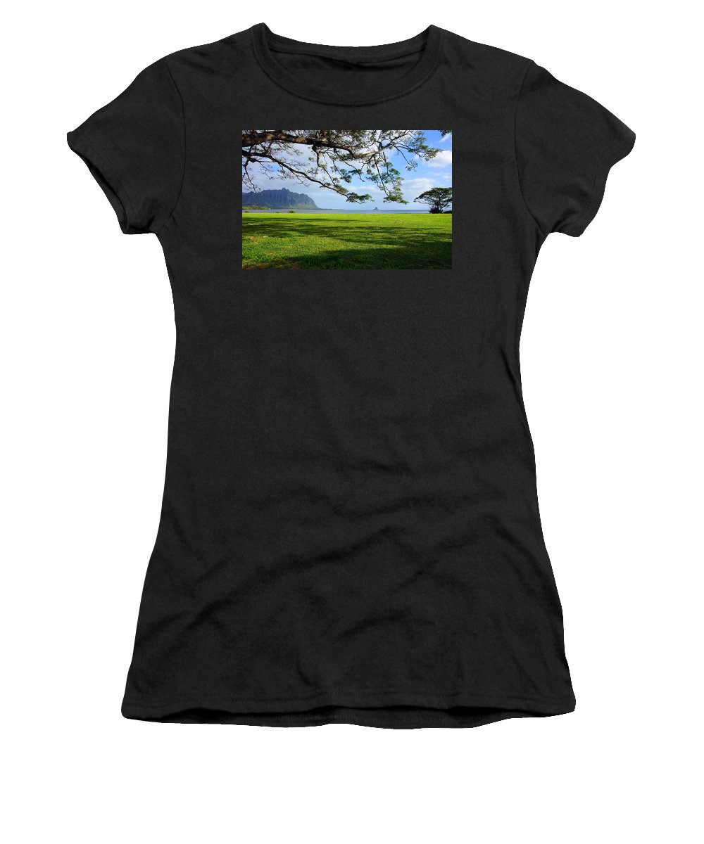 Chinaman's Hat Women's T-Shirt (Athletic Fit) featuring the photograph Waiahole Oahu Hawaii by Kevin Smith