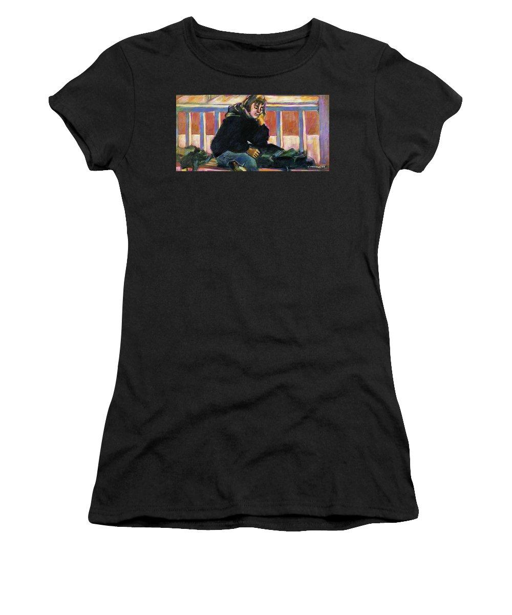 Aye Cummings Women's T-Shirt featuring the painting Waiting by Faye Cummings