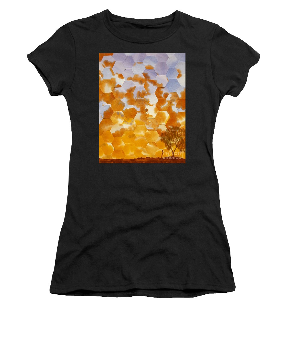 Landscape Women's T-Shirt featuring the painting Waiting For My Honey To Come Home by Jeni Bate