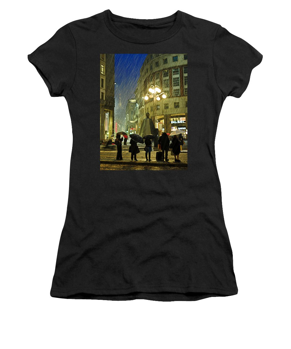 Snow Women's T-Shirt (Athletic Fit) featuring the photograph Waiting The Next Bus by Alfio Finocchiaro