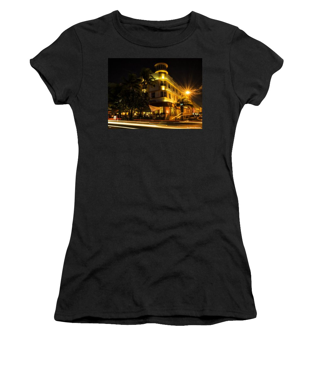 Florida Women's T-Shirt featuring the photograph Waldorf In Neon by Fran Gallogly