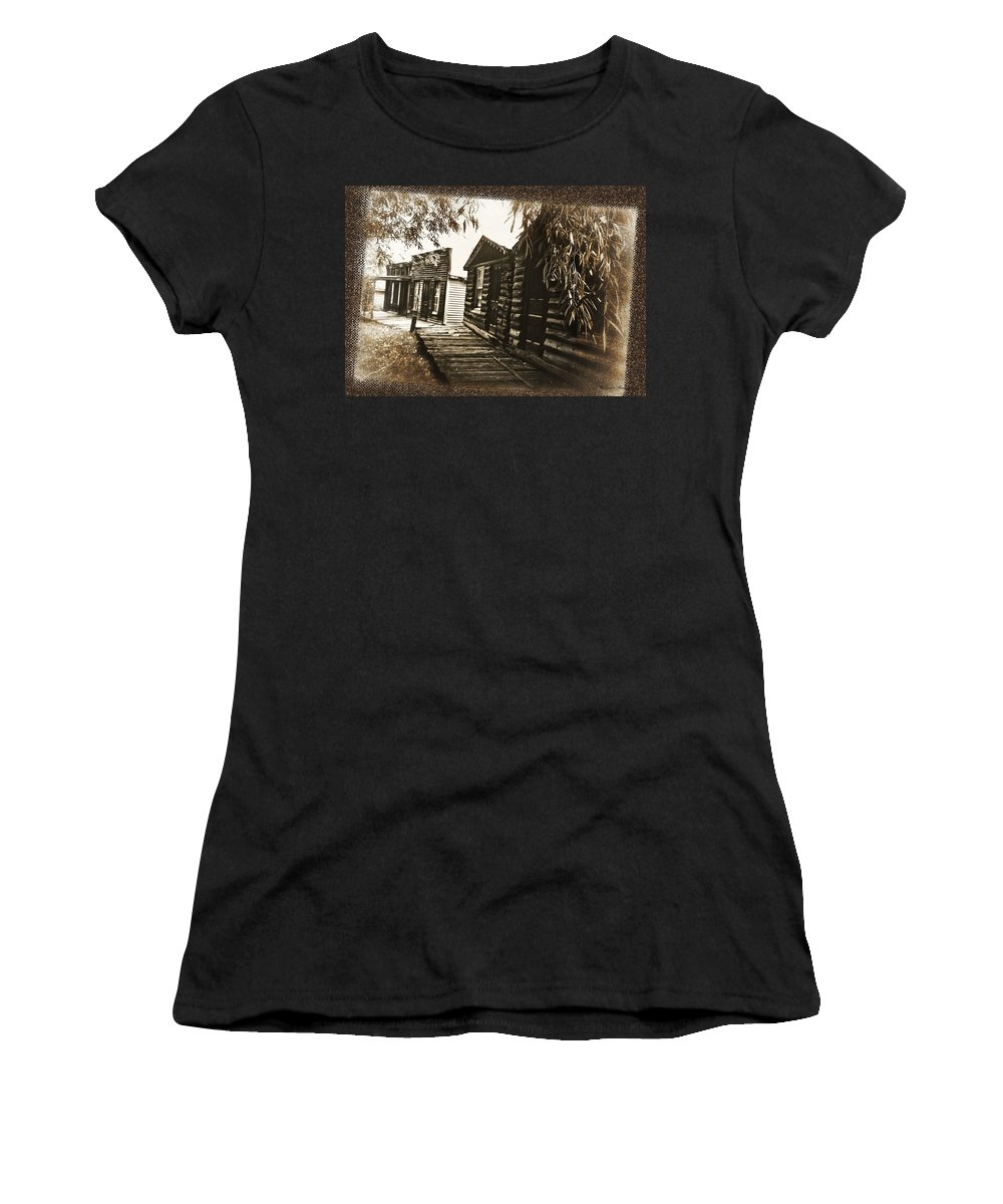 Textured Photo Women's T-Shirt featuring the photograph Walking Backwards by Susan Kinney