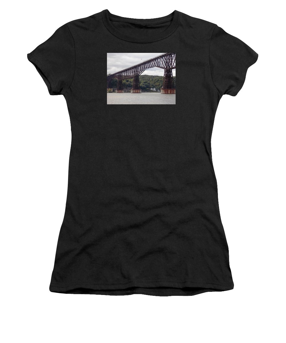 Walkway Women's T-Shirt (Athletic Fit) featuring the photograph Walkway Over The Hudson by Nina Kindred