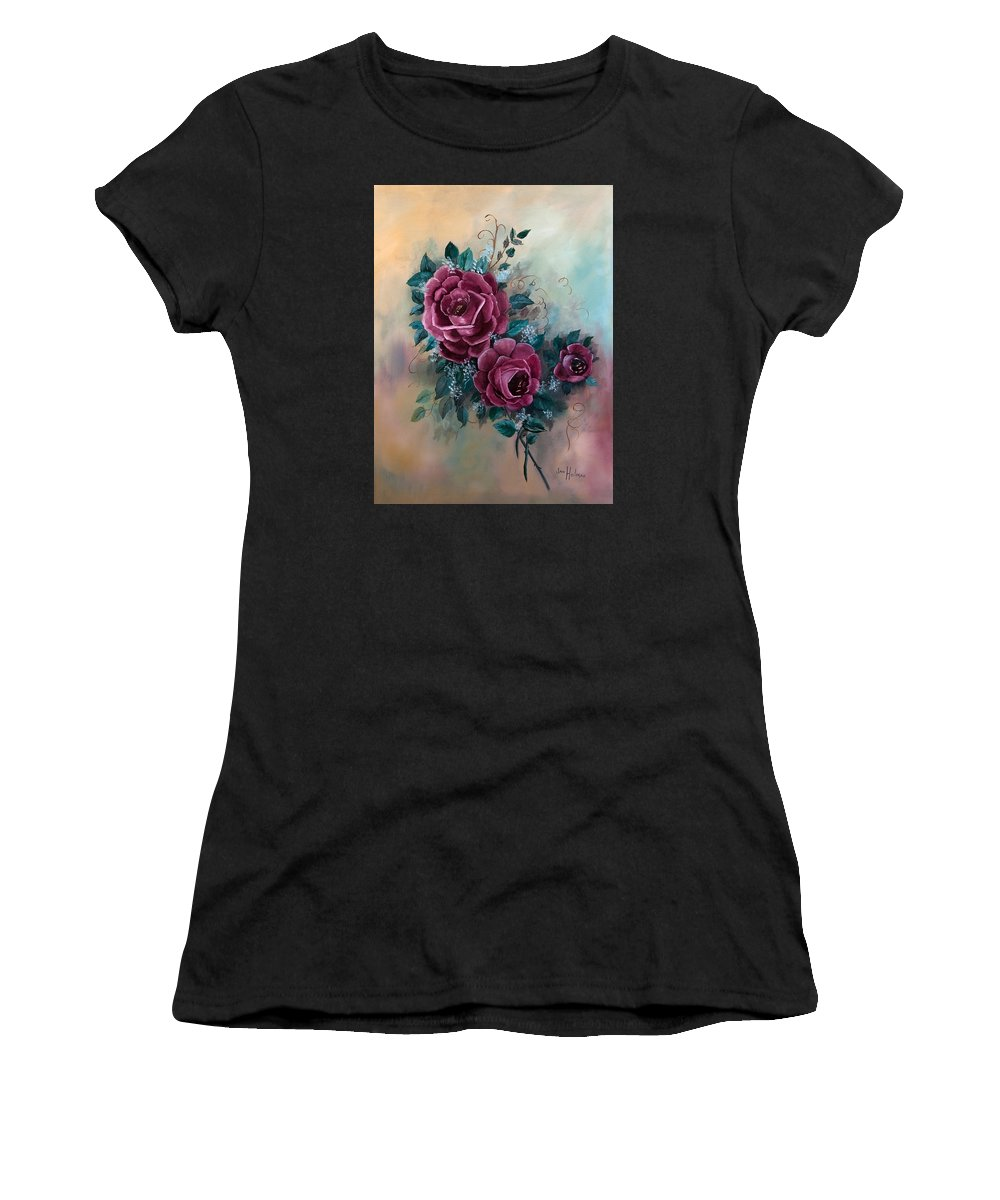Jan Holman Paintings Women's T-Shirt (Athletic Fit) featuring the painting Wall Corsage by Jan Holman