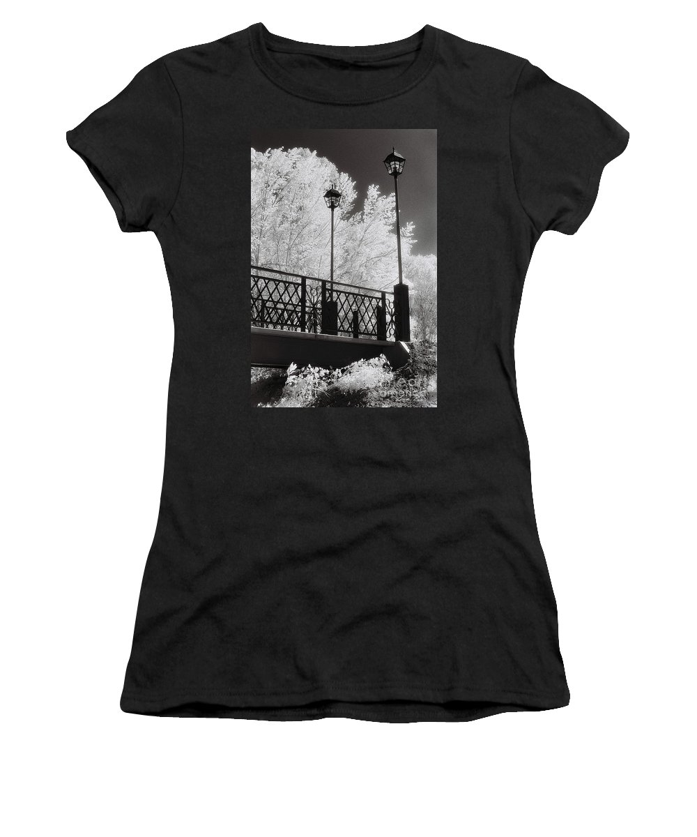 Infrared Women's T-Shirt (Athletic Fit) featuring the photograph Wangaratta Footbridge by Linda Lees