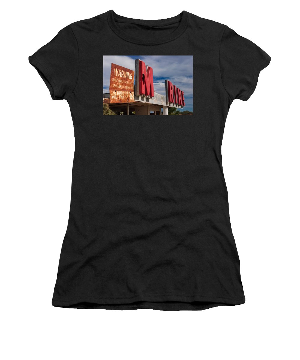 Abandoned Women's T-Shirt (Athletic Fit) featuring the photograph Warning M Rine by Scott Campbell