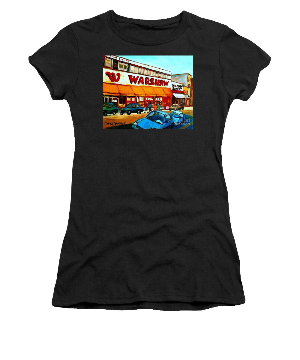 Montreal Landmark Women's T-Shirt featuring the painting Warshaws Paintings Famous Fruit Store Main Street Montreal Art Prints Originals Commissions Cspandau by Carole Spandau