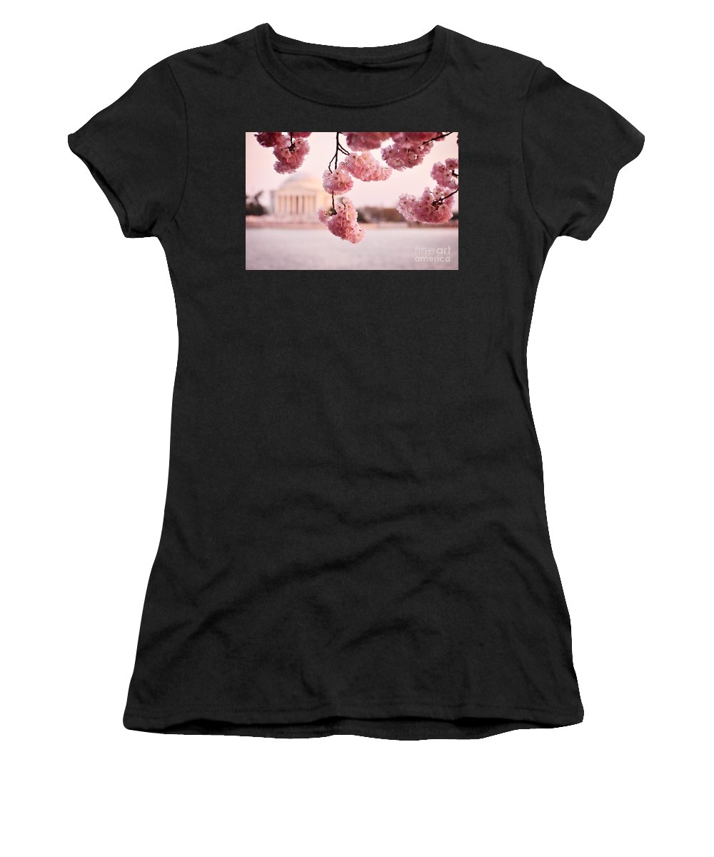 Lincoln Women's T-Shirt (Athletic Fit) featuring the photograph Washington Dc Cherry Blossoms by Jonas Luis