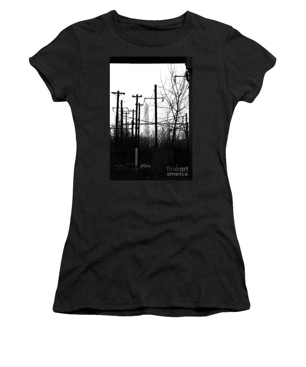 Manument Women's T-Shirt featuring the photograph Washington Monument From The Train Yard. Washington Dc by Thomas Marchessault