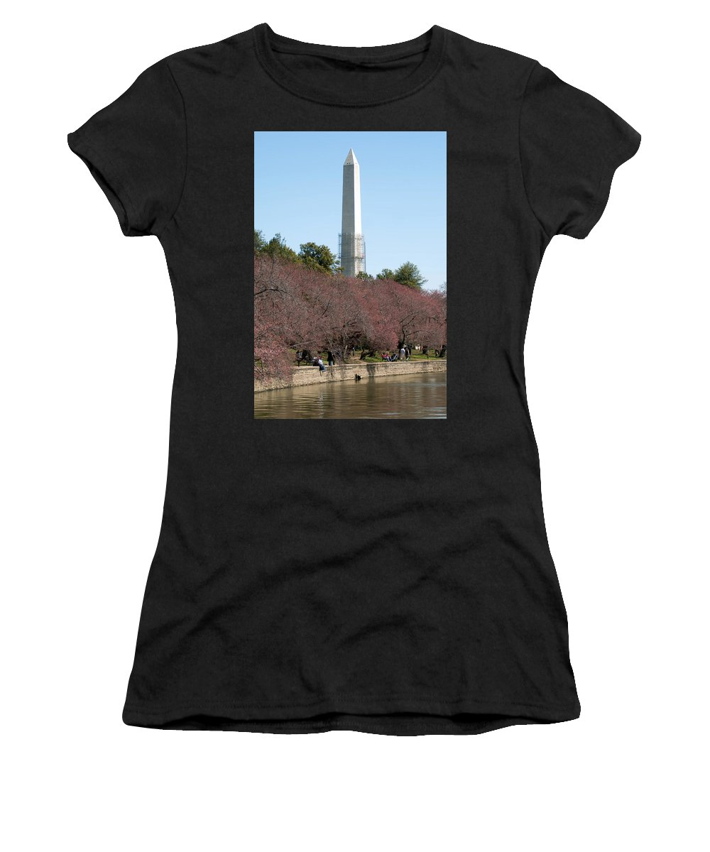 View Women's T-Shirt (Athletic Fit) featuring the photograph Washington Monument Reflected In Tidal Basin And Surrounded By P by Alex Grichenko