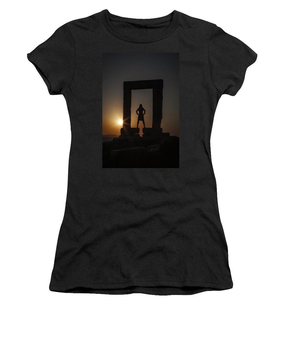 Girl Women's T-Shirt featuring the photograph Watching Sunset by Joana Kruse