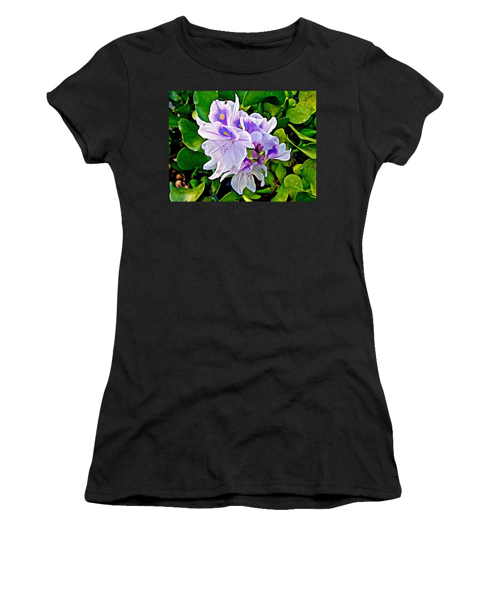 Water Hyacinth On Rapti River In Chitwan National Park In Nepal Women's T-Shirt featuring the photograph Water Hyacinth On Rapti River In Chitwan Np-nepal by Ruth Hager