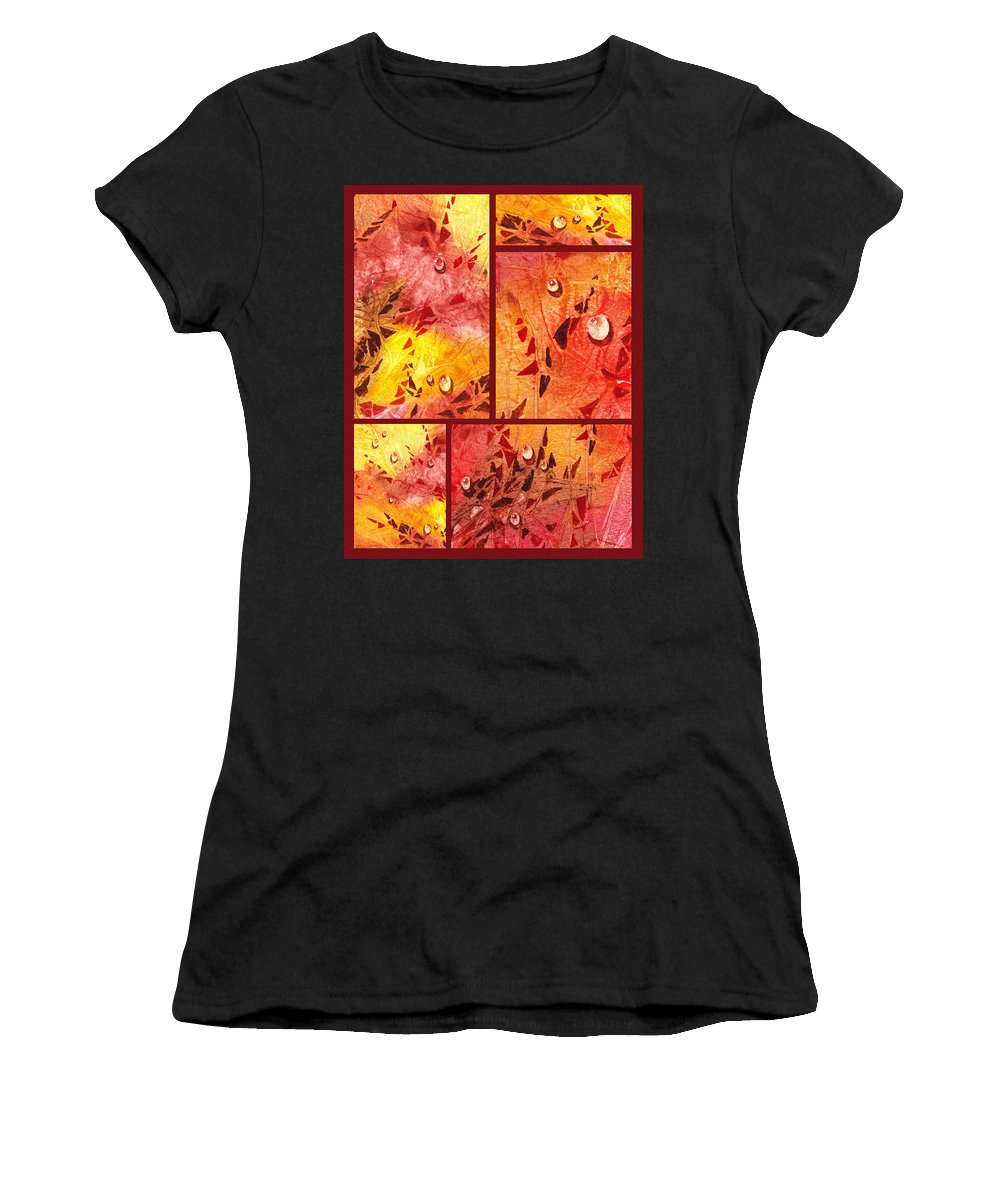 Water Women's T-Shirt (Athletic Fit) featuring the painting Water On Color Collage Eight by Irina Sztukowski