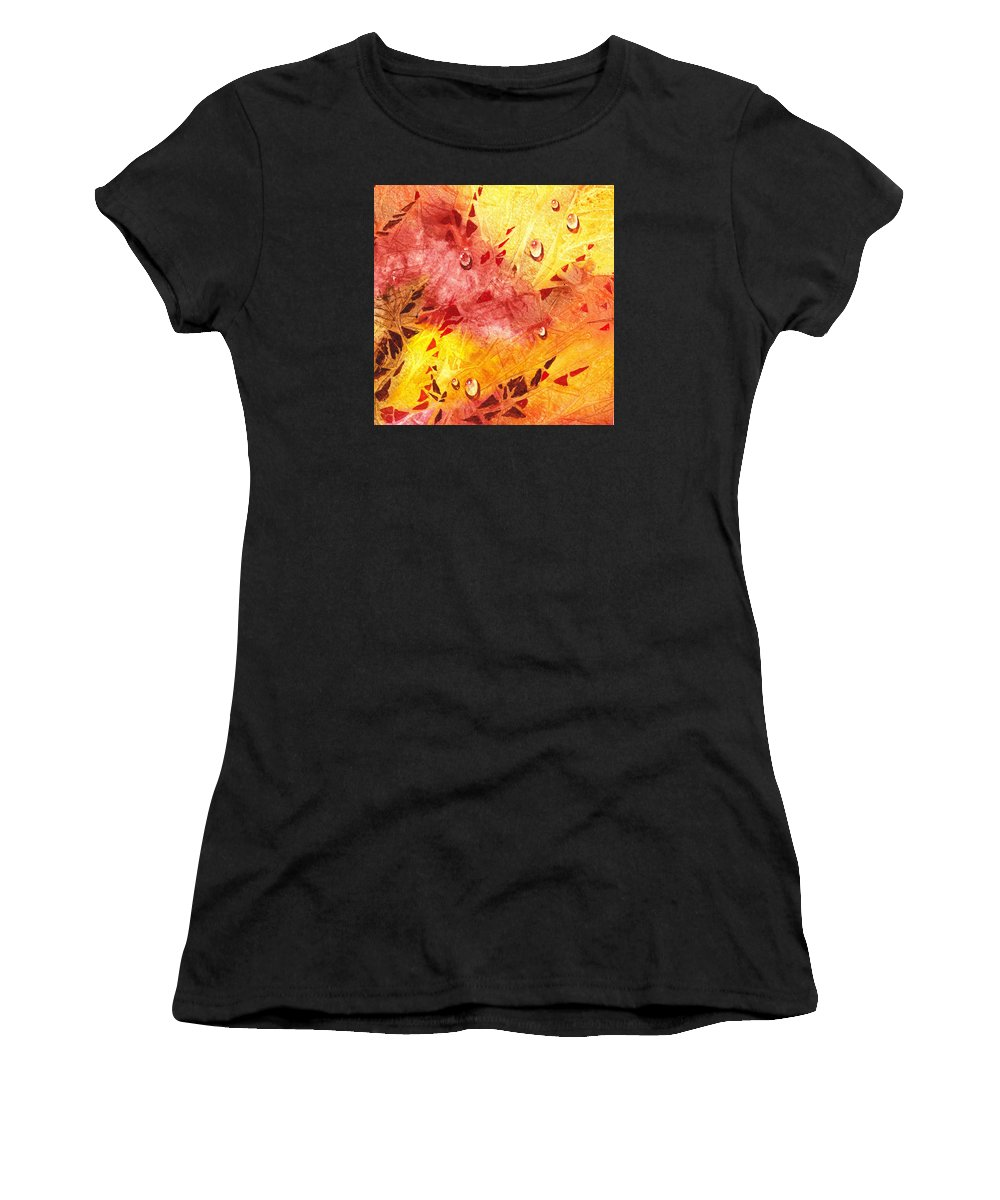 Water Women's T-Shirt (Athletic Fit) featuring the painting Water On Color Design Nine by Irina Sztukowski