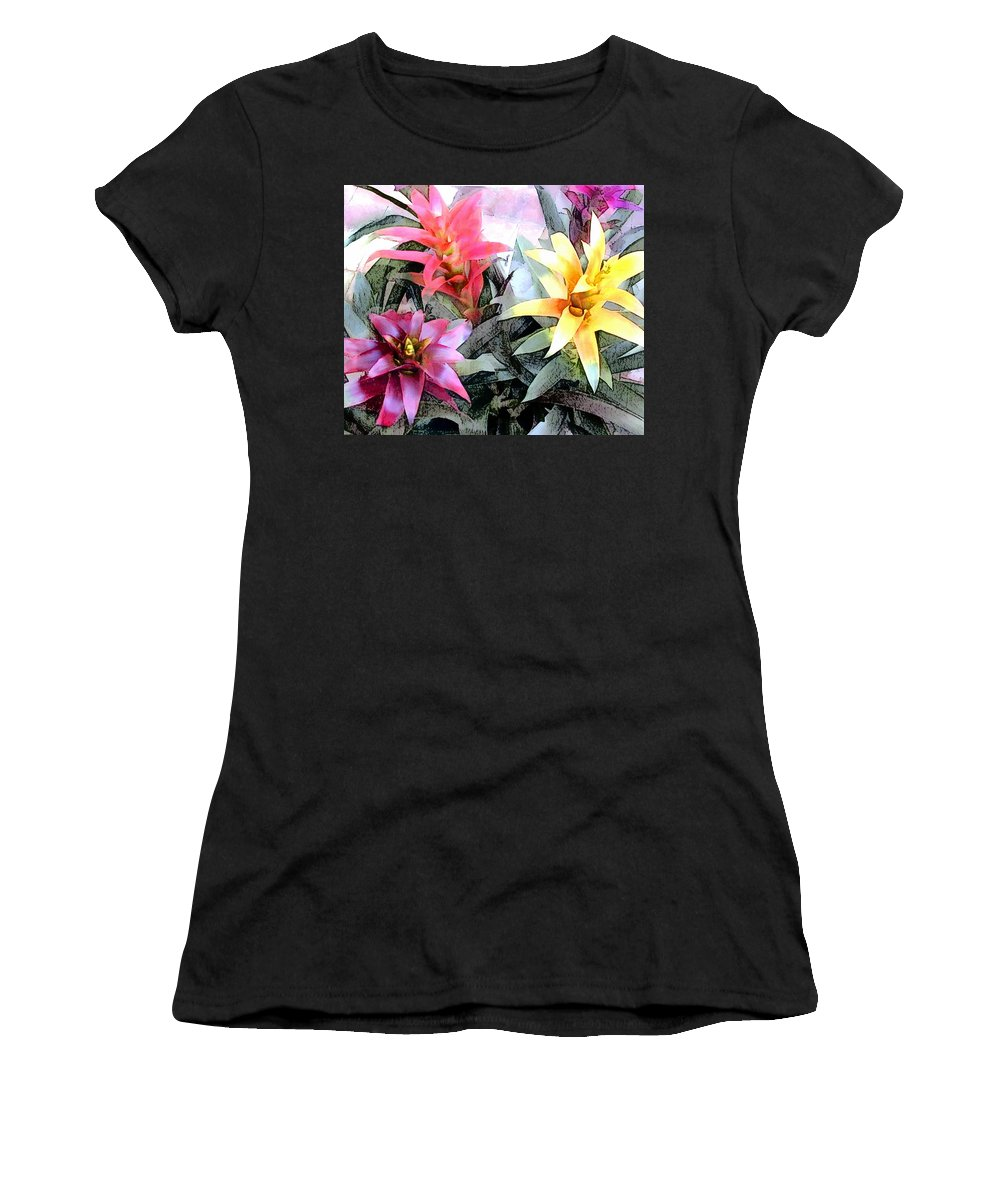 Tropics Tropical Plant Bromeliad Colorful Women's T-Shirt (Athletic Fit) featuring the painting Watercolor And Ink Sketch Of Colorful Bromeliads by Elaine Plesser