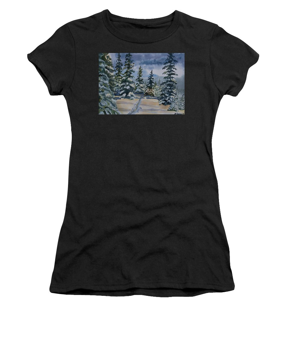 Forest Women's T-Shirt (Athletic Fit) featuring the painting Original Watercolor - Colorado Winter Pines by Cascade Colors