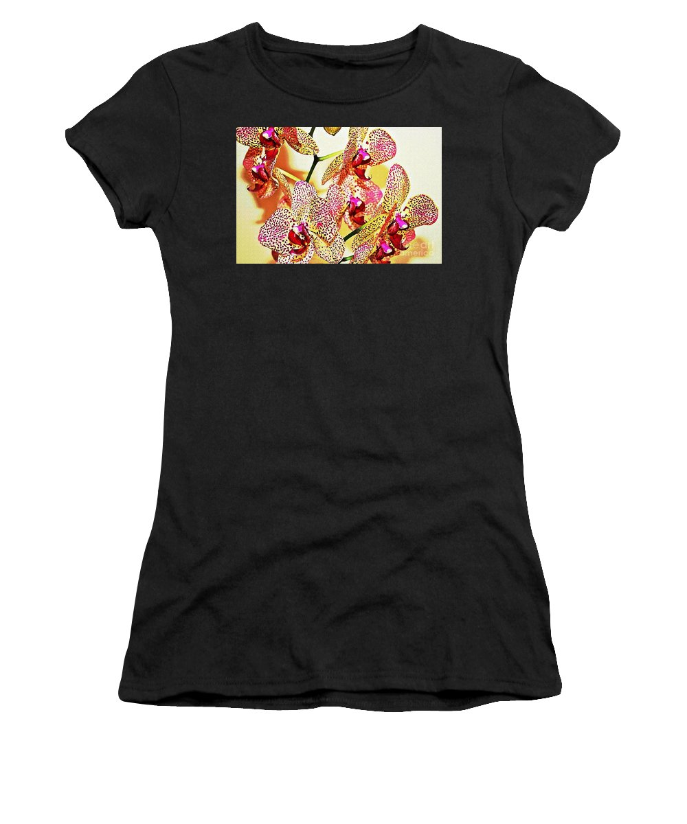 Orchid Women's T-Shirt featuring the photograph Watercolor Orchid Shadows by Judy Palkimas