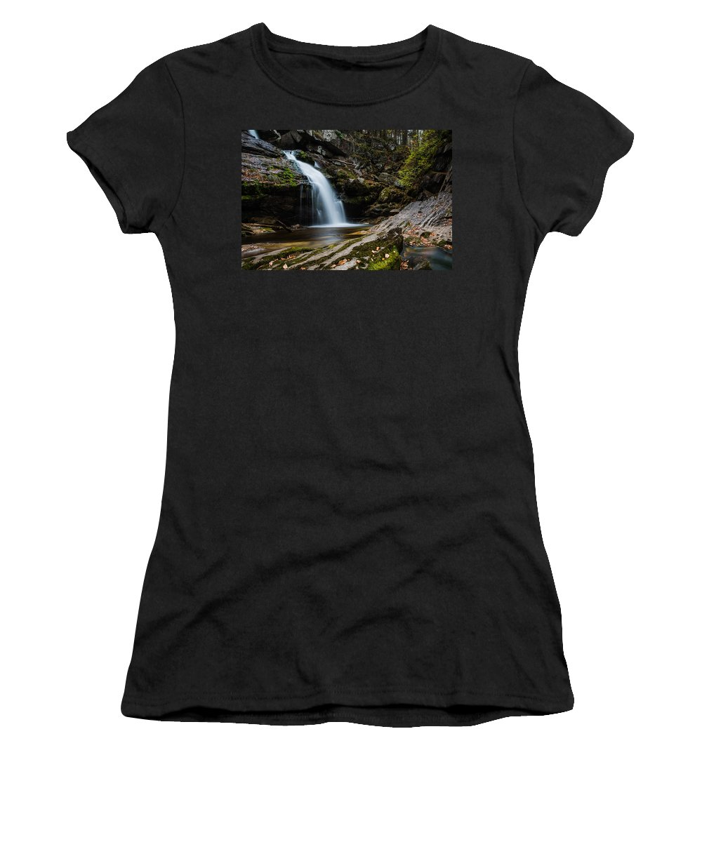 Kent Falls State Park Women's T-Shirt (Athletic Fit) featuring the photograph Waterfall by Geoffrey Bolte