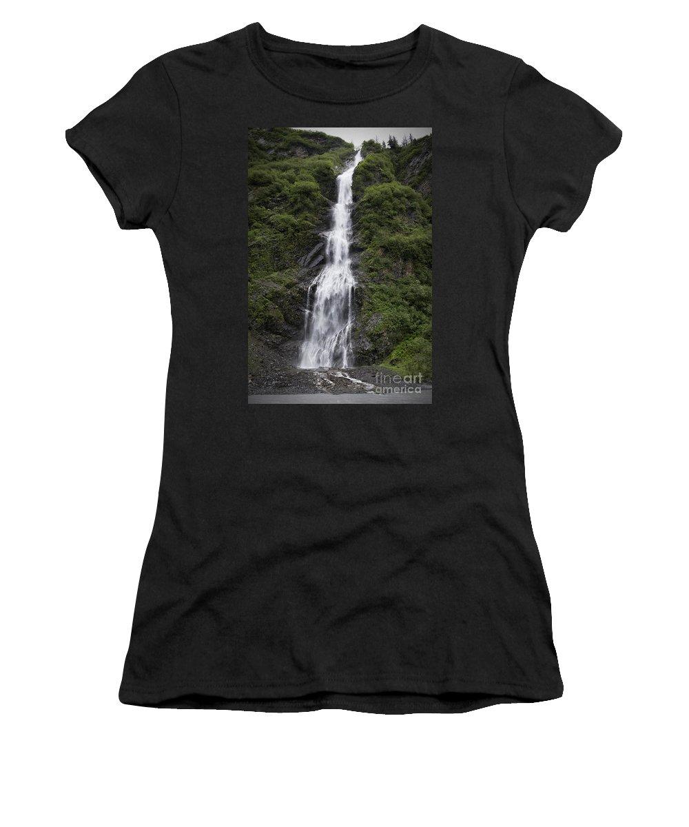 Waterfall Women's T-Shirt featuring the photograph Waterfall Near Valdez Ak by David Arment