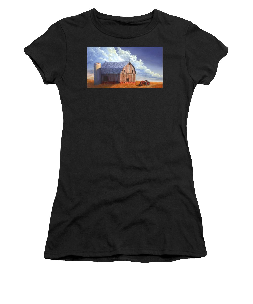 Tractor Women's T-Shirt (Athletic Fit) featuring the painting Way Out West by Jerry McElroy