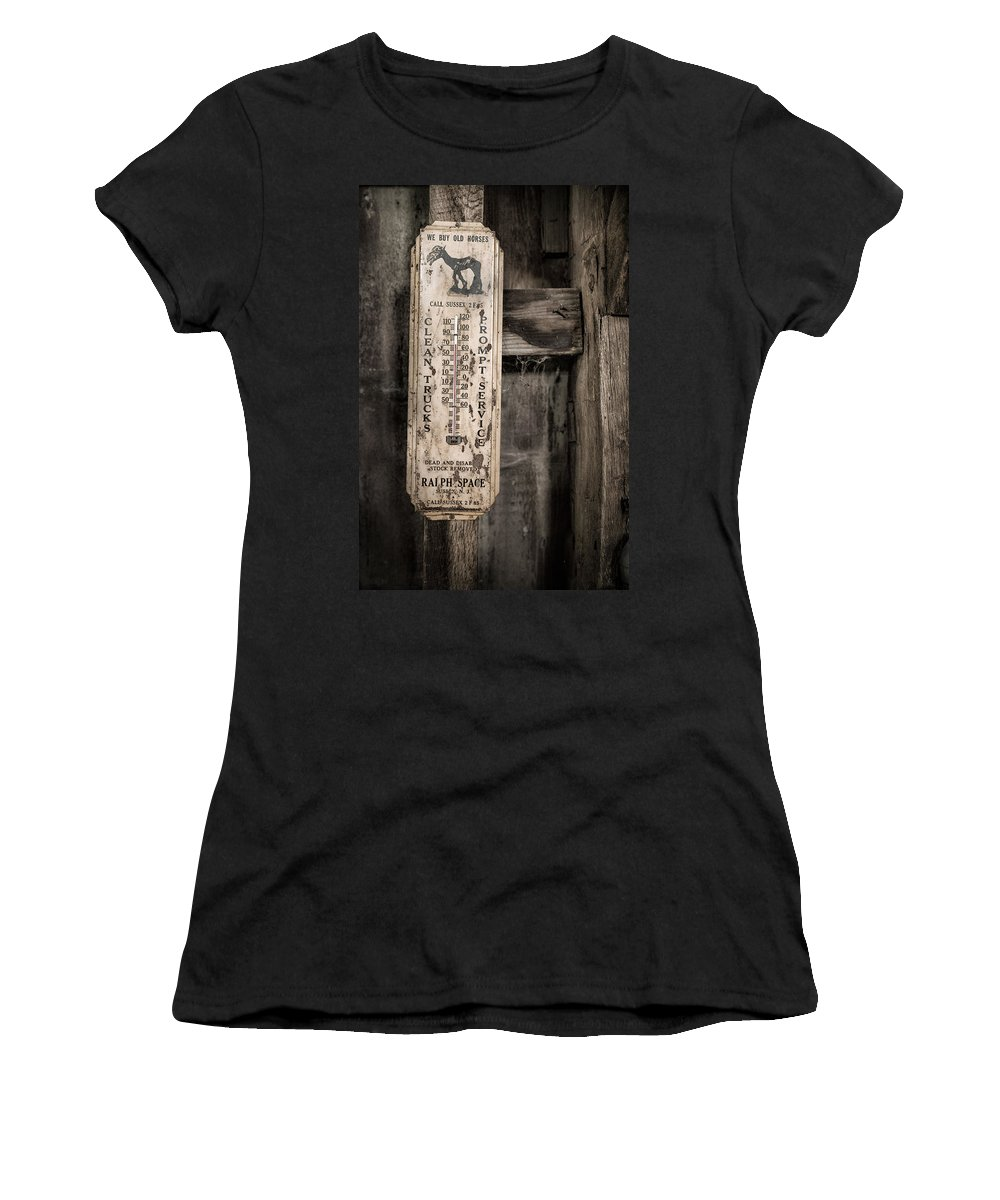 Horses Women's T-Shirt (Athletic Fit) featuring the photograph We Buy Old Horses - Vintage Thermometer by Gary Heller