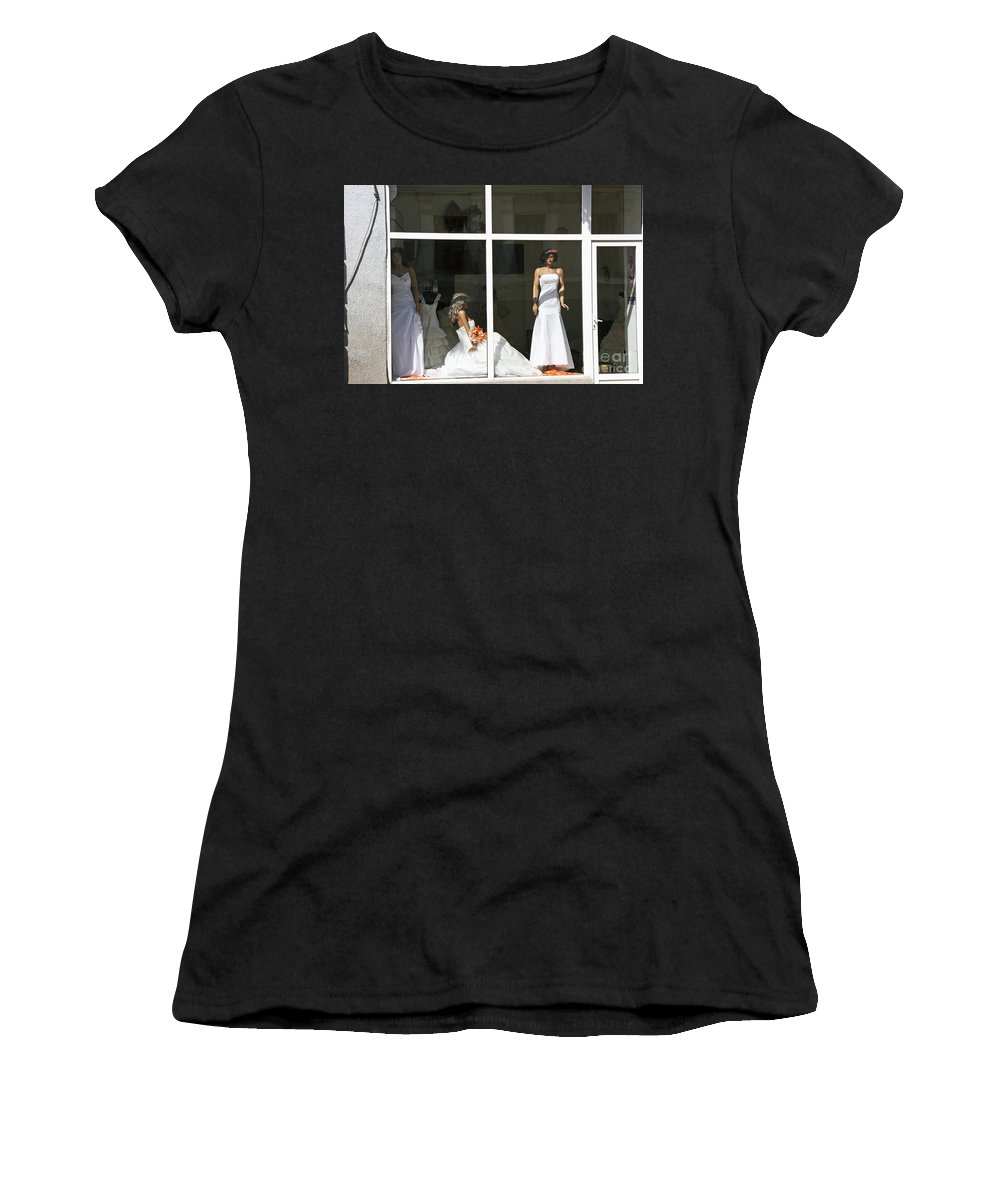 Showcase Women's T-Shirt (Athletic Fit) featuring the photograph Wedding Shop In Tbilisi by Lali Kacharava