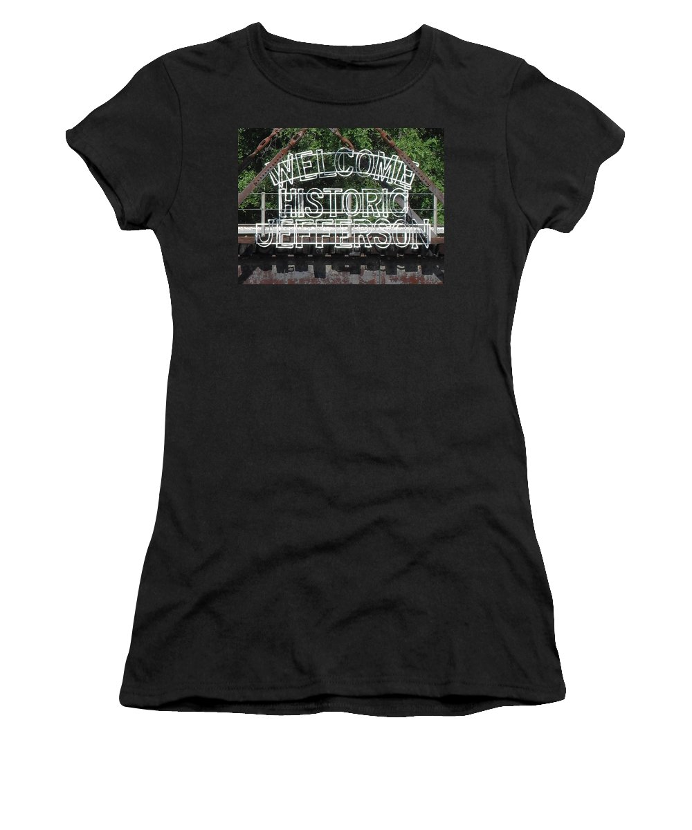 Jefferson Texas.jefferson Women's T-Shirt (Athletic Fit) featuring the photograph Welcome Historic Jefferson Texas Railroad Sign by Donna Wilson