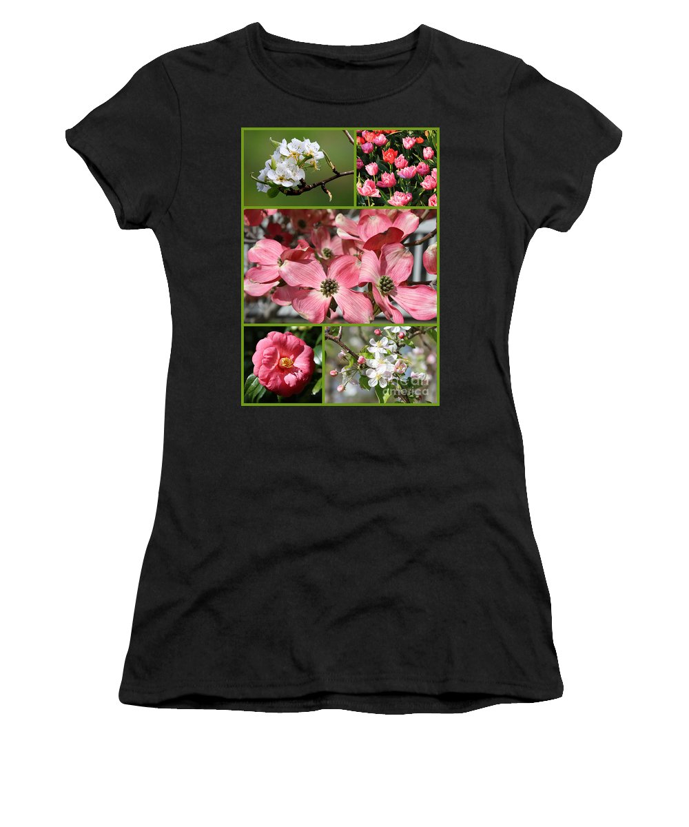Spring Women's T-Shirt featuring the photograph Welcome Spring Collage by Carol Groenen