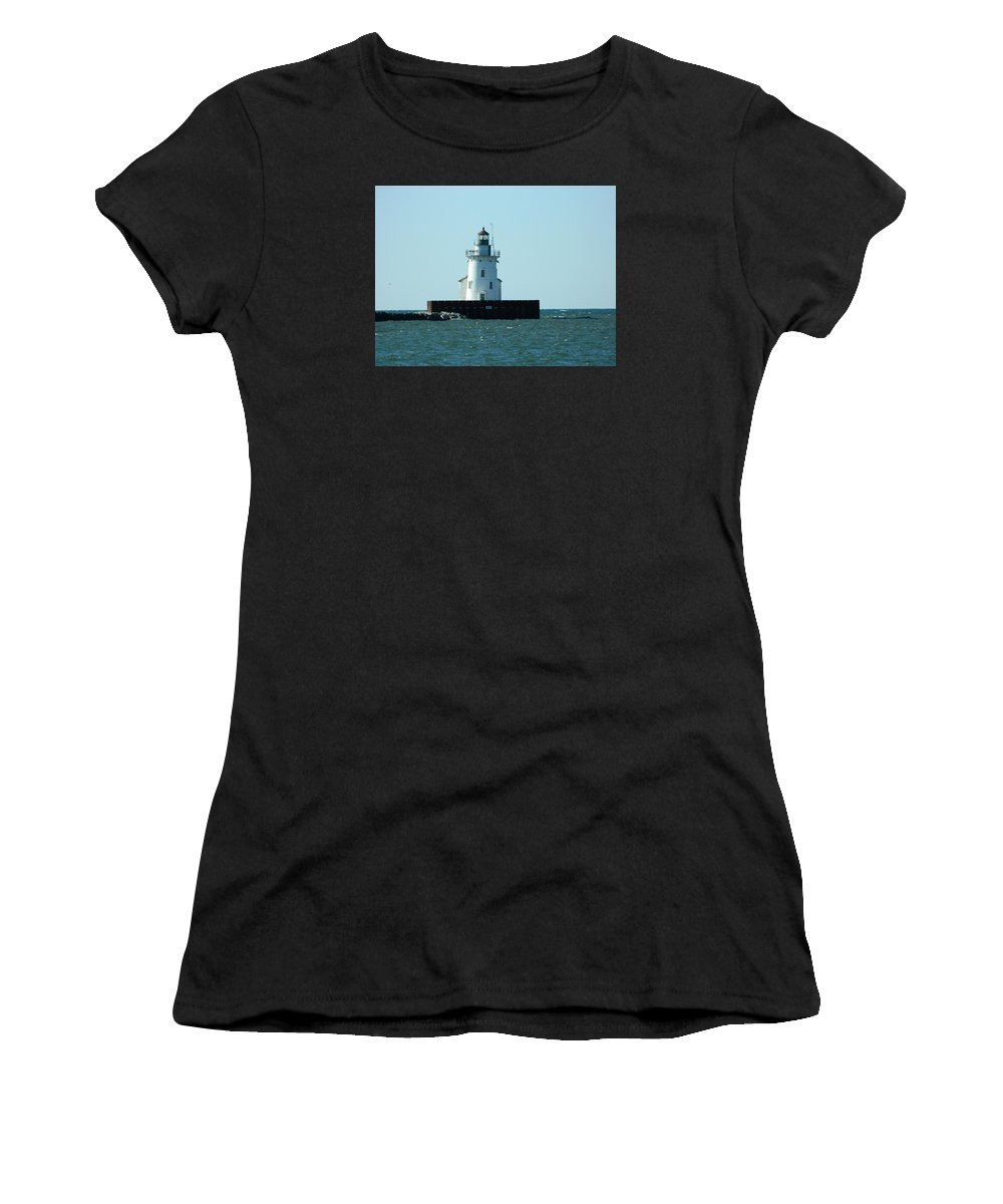 Lighthouse Women's T-Shirt (Athletic Fit) featuring the photograph West Pierhead Lighthouse by Nancy Spirakus
