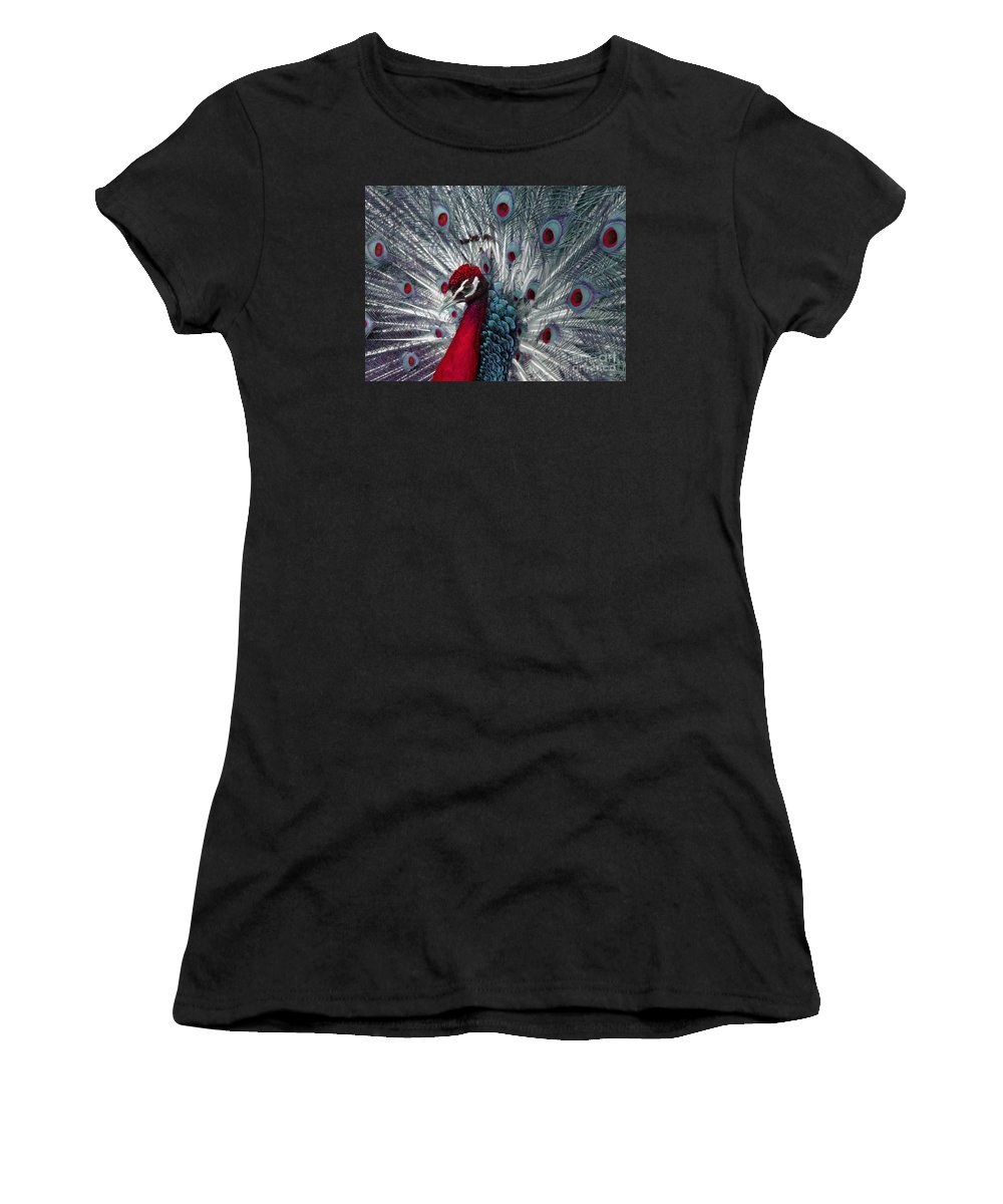 Peacock Women's T-Shirt (Athletic Fit) featuring the photograph What If - A Fanciful Peacock by Ann Horn
