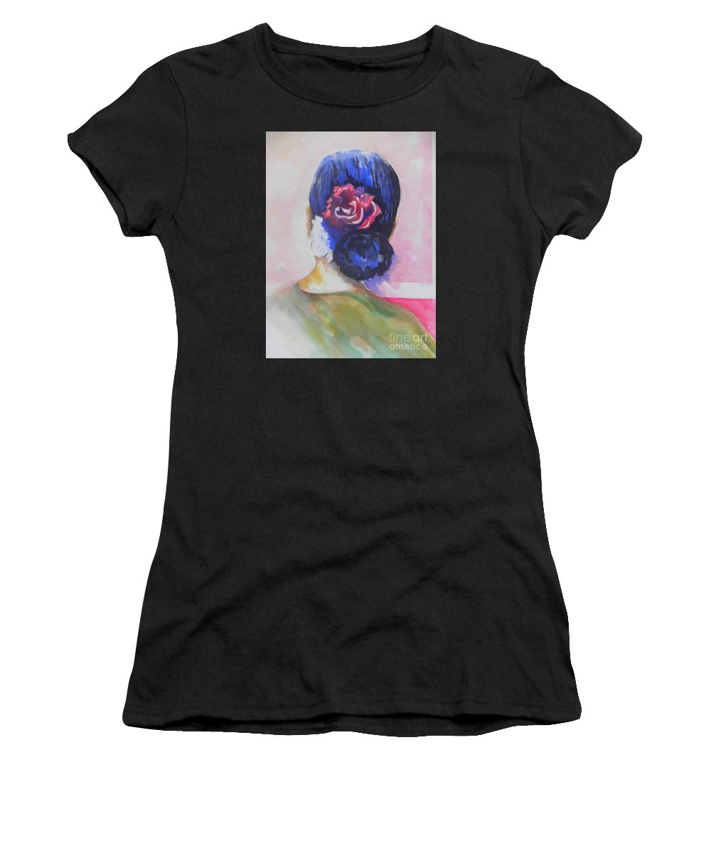 Watercolor Painting Women's T-Shirt (Athletic Fit) featuring the painting What Lies Ahead Series.. Watching Time Go By by Chrisann Ellis