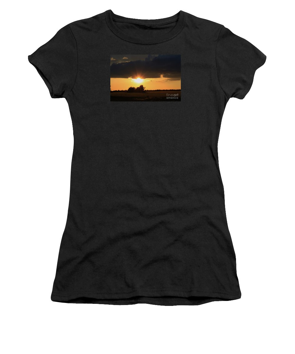 Sun Women's T-Shirt (Athletic Fit) featuring the photograph Wheatfield Sunset With Cloud's And Tree's by Robert D Brozek