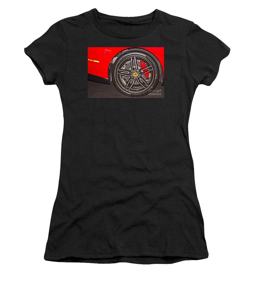Ferrar Women's T-Shirt featuring the photograph Wheel Of A Ferrari by Tom Gari Gallery-Three-Photography
