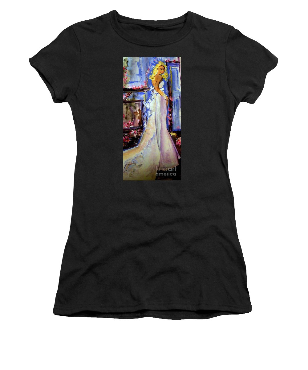 Women Women's T-Shirt (Athletic Fit) featuring the painting When Lovely Women by Helena Bebirian