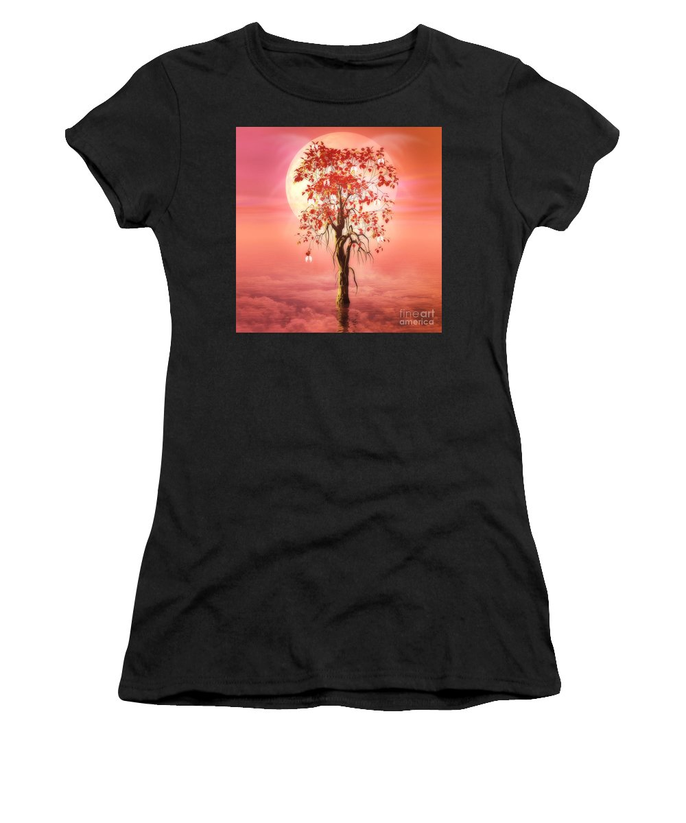 Tree Of Heaven Women's T-Shirt (Athletic Fit) featuring the digital art Where Angels Bloom by John Edwards