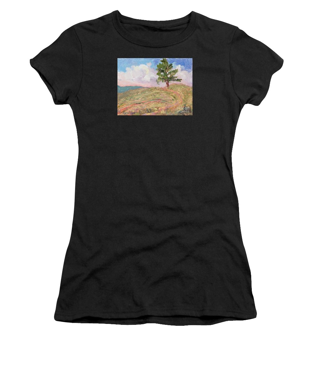 Western Landscape Women's T-Shirt (Athletic Fit) featuring the painting Where The Buffalo Roam by Suzanne Elliott