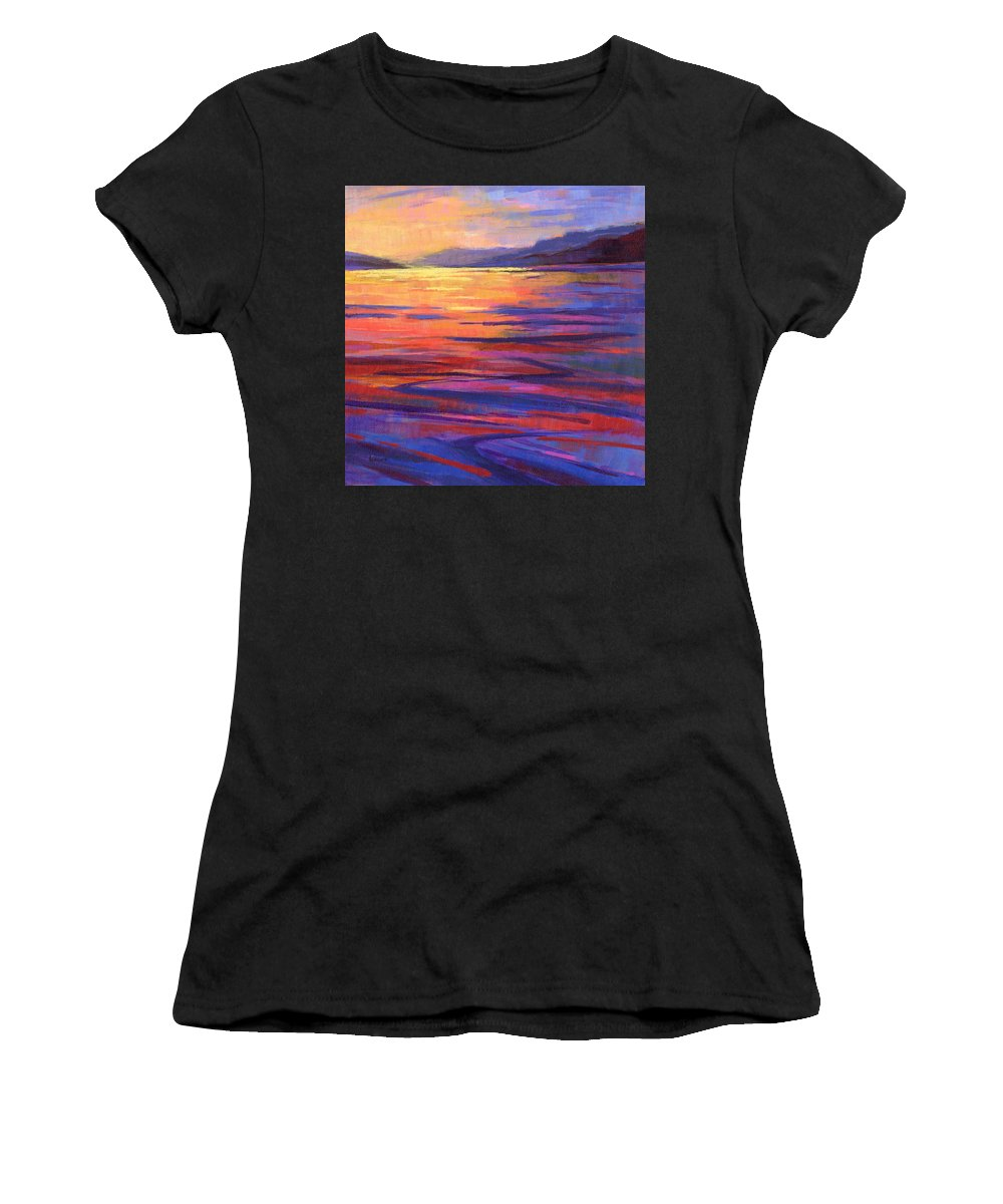 Water Women's T-Shirt (Athletic Fit) featuring the painting Where The Whales Play 2 by Konnie Kim