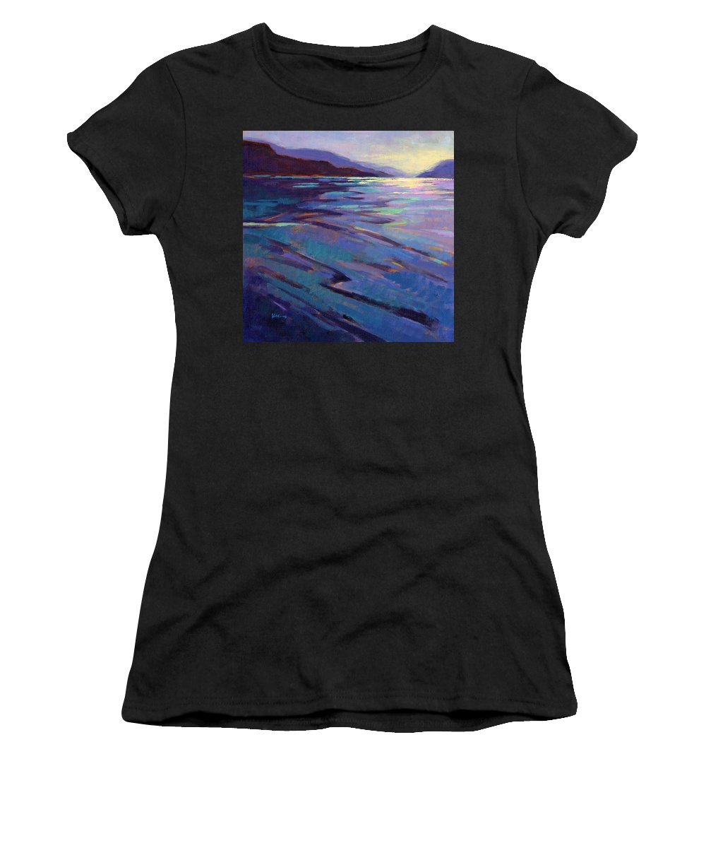 Water Women's T-Shirt (Athletic Fit) featuring the painting Where The Whales Play 3 by Konnie Kim