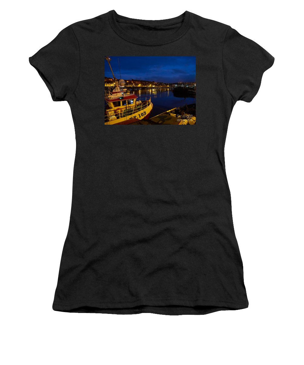 Whitby Women's T-Shirt (Athletic Fit) featuring the photograph Whitby Upper Harbour At Night by Louise Heusinkveld