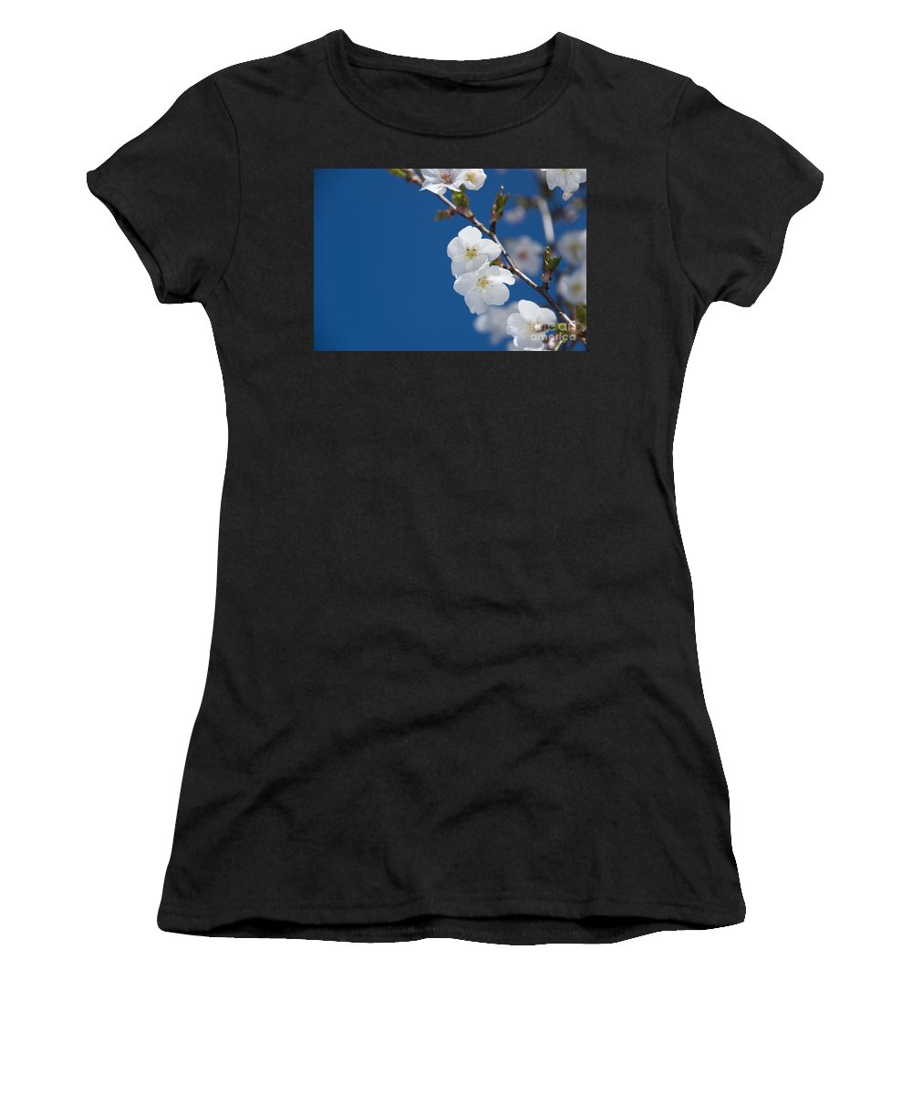 Annegilbert Women's T-Shirt (Athletic Fit) featuring the photograph White Blossom by Anne Gilbert