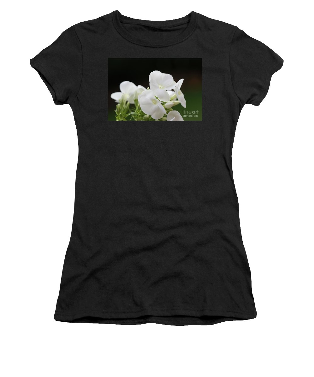 White Women's T-Shirt (Athletic Fit) featuring the photograph White Flowers 3 by Carol Lynch