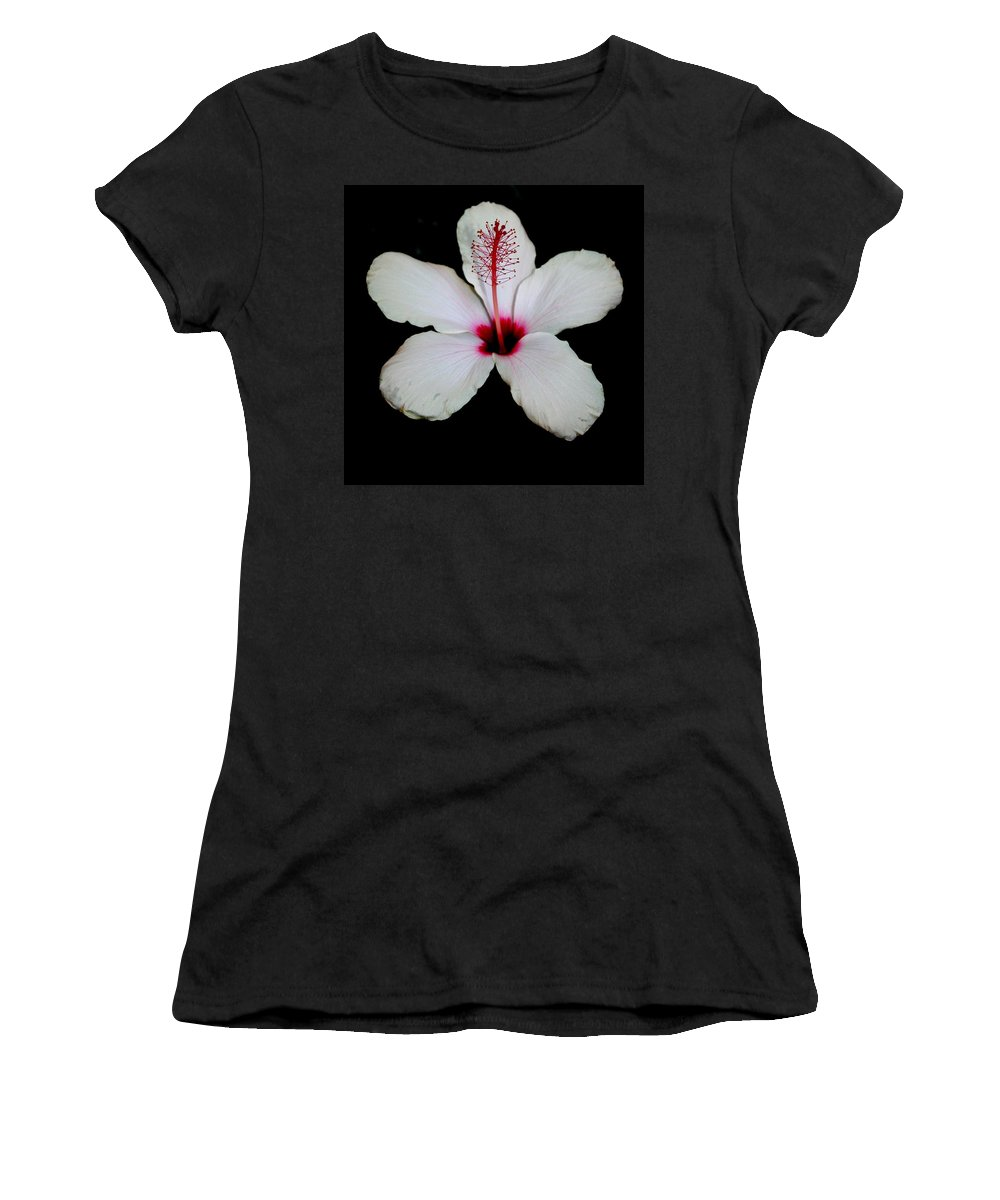 Hibiscus Women's T-Shirt featuring the photograph White Hibiscus Isolated On Black Background by Taiche Acrylic Art