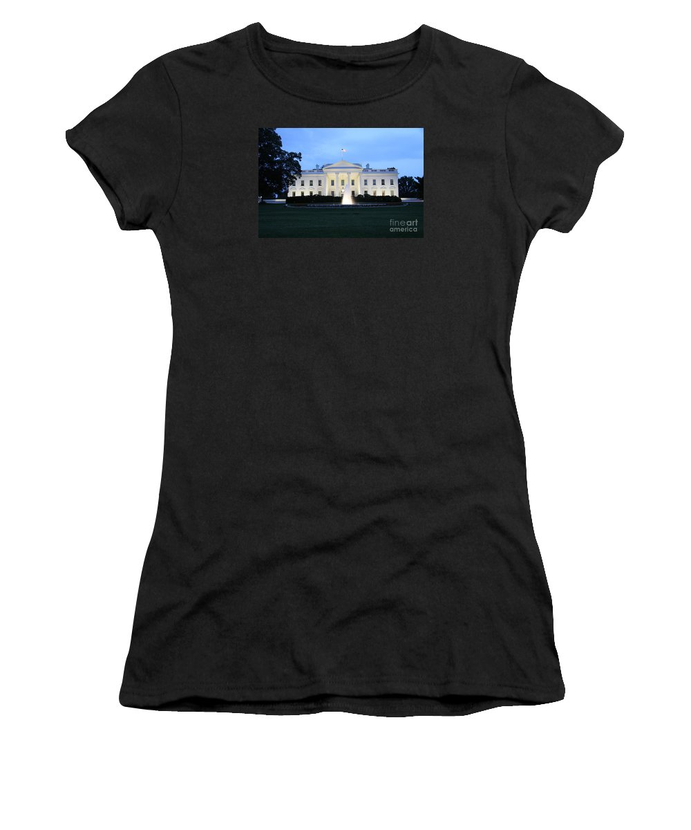 White House Women's T-Shirt (Athletic Fit) featuring the photograph White House In Eveninglight Washington Dc by Christiane Schulze Art And Photography