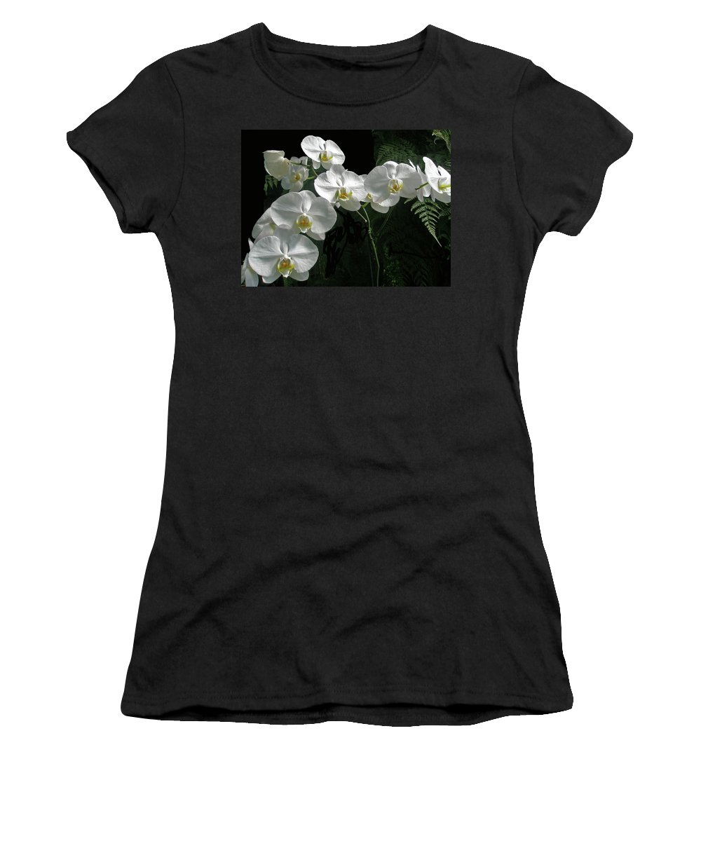 Orchid Women's T-Shirt (Athletic Fit) featuring the photograph White Moth Orchid Phalaenopsis And Ferns by Mother Nature
