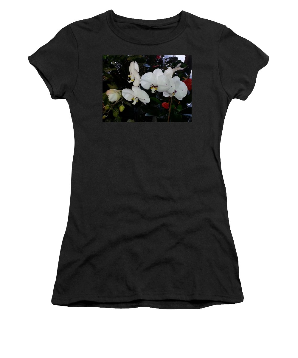 Nature Women's T-Shirt (Athletic Fit) featuring the photograph White Orchids by Fortunate Findings Shirley Dickerson