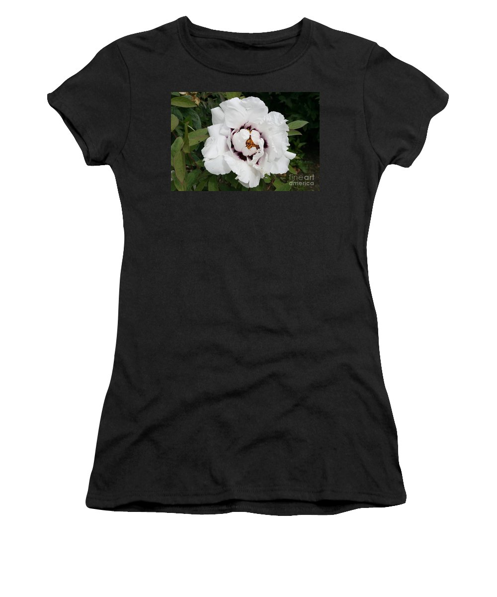 Flowers Women's T-Shirt (Athletic Fit) featuring the photograph White Peony by Christiane Schulze Art And Photography